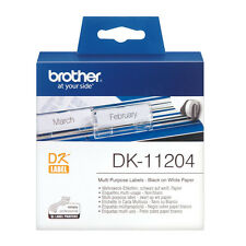 BROTHER DK-11204 BLACK ON WHITE 54x17mm PAPER LABEL ROLL / 400 LABELS ETIKETTES