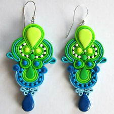 big huge drop large handmade green navy blue color block geometric neon earrings