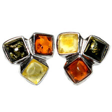 1.6g Authentic Baltic Amber 925 Sterling Silver Earrings Jewelry A8368