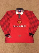 MANCHESTER UNITED HOME SHIRT 1996/98 ADULTS MEDIUM (M) LONG SLEEVE UMBRO L/S