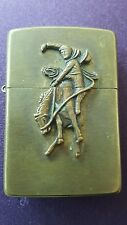 Vintage Zippo Lighter Brass Marlboro Cowboy Bucking Bronco Horse Antique