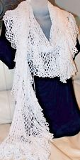 Luxurious Long White Crochet Scarf Handmade Shawl Scalloped Fringe Holidays Snow