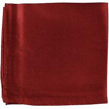 MANZO Men's Polyester Shiny Finish Pocket Square Hankie Only Burgundy