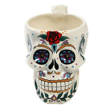 White Ceramic Mug Drinking Cup Day of the Dead D.O.D. Tribal Sugar Skull Rose