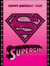 A4 SUPERGIRL LOGO EDIBLE ICING BIRTHDAY CAKE TOPPER