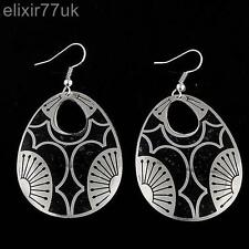 NEW BLACK & SILVER ELEGANT RETRO VINTAGE EARRINGS OVAL SHAPE EARRING GOTH EMO UK