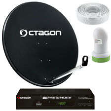 FULL HD Octagon Sat Anlage 65cm Schüssel Set USB PVR - Sat Receiver 1-Teilnehmer