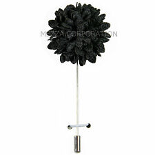 New in box Men's Suit chest brooch black fabric flower lapel pin formal