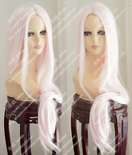 cosplay wig 100cm Pale pink Center part bang Long straight hair Sexy women wig