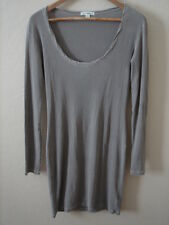 NEW James Perse Ribbed Knit Scoop Neck Long Sleeve Long Top Gray 1 S