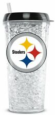 Pittsburgh Steelers Crystal Freezer Tumbler with Straw - 16oz [NEW] NFL Cup Mug