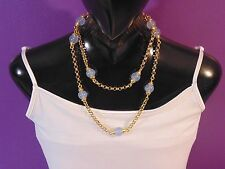 """Signed Joan Rivers Gold Tone Opalescent Beaded Station Chain Necklace 36"""" Long"""