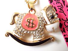 NWT Betsey Johnson Diamond White Crystal & Enamel Rocking Horse Pendant Necklace