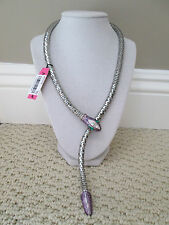 NWT Auth Betsey Johnson Silvertone Purple Glitter Enamel SNAKE Lariat Necklace