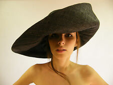 New Hat Black Hand Made Raffia Summer Beach Floppy Funeral  Large Wide Brim