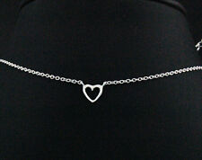 925 Sterling Silver Heart Chain  Necklace 15.5 - 17 inches adjustable