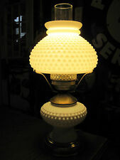 Vintage Hobnail Milk Glass Electric Oil Table Lamp Marble Glass Flute Shade