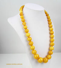Baltic Amber Rare Antique Milky Egg Yolk Beaded Necklace;104.6GR-A0608 RRP£12399