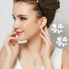 New Lovely  Lucky Clover Earrings Silver Ear Stud Women's Wedding Jewelry T