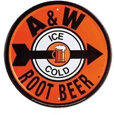 "A & W ROOT BEER 12"" ROUND METAL A&W SODA Tin SIGN SODA POP STAND VINTAGE STYLE"