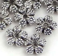 30 Silver Pewter Flower Spacer Rondelle Beads Lead-Free 7mm