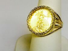 22 KT 1/10oz LADY LIBERTY COIN in 14 KT SOLID YELLOW GOLD LADIES COIN RING 19MM