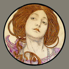 Mucha, girl with red hair, glass painting, kilnfired, stained glass, suncatcher