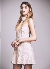 NWT $300 Free People Queen Lace Mock Neck Party Mini Dress 6 Almond
