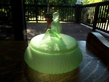 antique Green satin uranium art deco glass POWDER BOX JAR Jackie L E Smith RARE