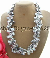 Q120604 Charming! 3Strds 14mm Grey Keshi Pearl Necklace