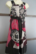 Ted Baker Dress Black Red W Print Floral Trapeze SILK Ted Sz 2 US Sz 6