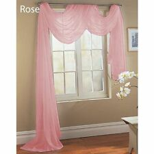 1 PC ROSE PINK SOLID VALANCE SCARF SOFT VOILE SHEER WINDOW CURTAIN DRAPES