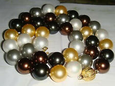 Black White Yellow Gray Chocolate Brown Shell Pearl Golden Clasp Necklace