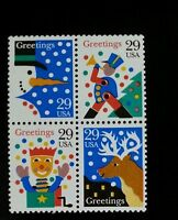1993 29c Christmas Designs, Block of 4 Scott 2791-2794 Mint F/VF NH