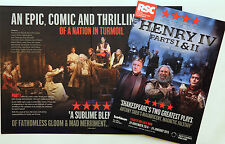 2 X HENRY IV  RSC FLYERS - WILLIAM SHAKESPEARE - LONDON  BARBICAN