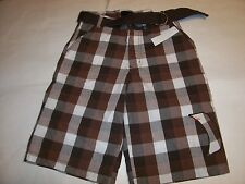New Hurley brown white plaid chino shorts with belt  boys youth sz 18 /  30