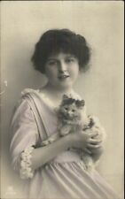 Young Woman Holding Her Kitten Kitty Cat c1910 Tinted Real Photo Postcard
