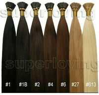"16"" 18"" 20"" 22""24""100S Stick I Tip Remy Real Straight 100% Human Hair Extensions"