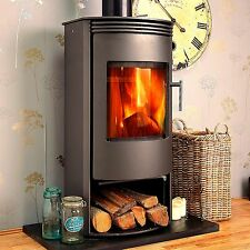 GREY Jupiter CURVED Contemporary Modern Woodburning Stove Stoves Multi fuel