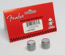 NEW FENDER TELECASTER P-BASS TELE CHROME BARREL KNOBS (2) FREE GUITAR PICKS