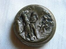 ANTIQUE CHARM METAL PILL BOX ENGRAVING VICTORIAN LADY GENTLEMEN WITH MIRROR