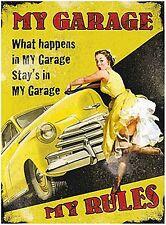 My Garage My Rules large metal sign 400mm x 300mm (og)