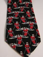 CHRISTMAS SANTAS ON SKIS REPEATING DESIGN ON BLACK 100% SILK TIE NECKTIE