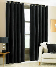 TWO HEAVY THICK  panels FOAM BLACKOUT BLACK  grommet window curtain LINED k92