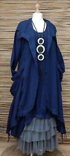 LAGENLOOK*KEKOO*BEAUTIFUL QUIRKY 2 LARGE POCKETS JACKET/COAT*NAVY BLUE*SIZE L