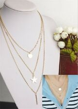 Fashion Lady's Multilayer Gold Long Strip Pentagram Circle Disk Necklace Jewelry