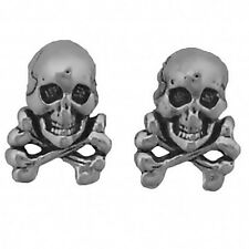 925 Sterling Silver Earrings Skull and Crossbones Posts Studs Tiny Mini925
