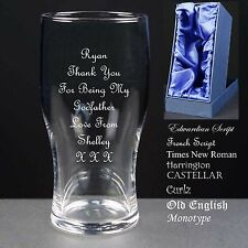 Personalised Tulip Pint Glass, Christening Gift, God Father God Mother Satin Box
