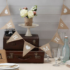 MR & MRS VINTAGE STYLE RUSTIC HESSIAN BUNTING, WEDDING DECORATION