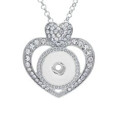 Rhinestone Charm Necklace Jewelry Pendant Fit For Noosa 18MM /20MM Snap Button